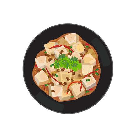 A dish of chinese stir fried tofu.