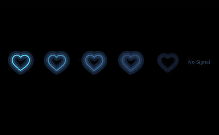 Blue light fade in heart shape on black background and text no signal.