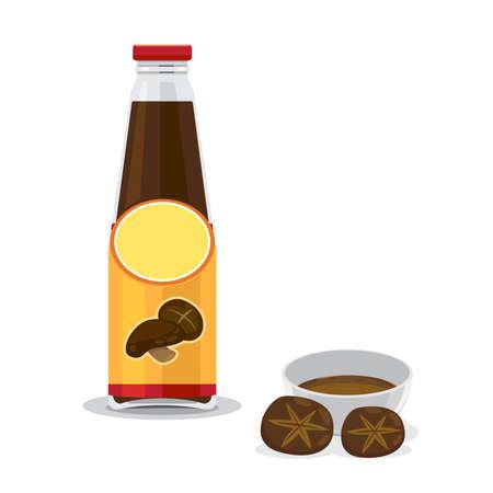 A bottle and bowl of mushroom sauce and fresh mushroom