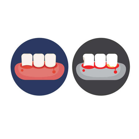 Icon of tooth and gums problem. Vettoriali