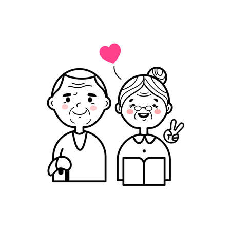 Cartoon outline of healthy and happy older couple. Vettoriali