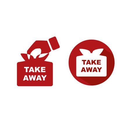 Set of take away icon on white background.