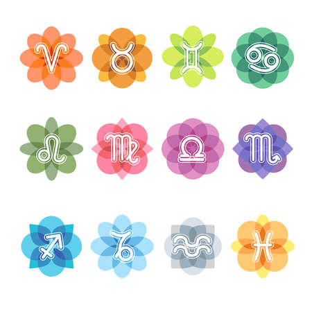 Colorful Zodiac sign - icon in flower shap.
