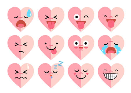 Vector flat icon of emoticon set - emoji collection in heart shape.