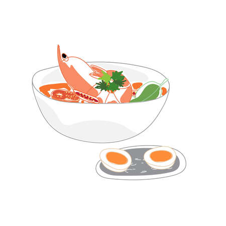 A bowl of spicy tom yum kung soup and boiled egg. 矢量图像