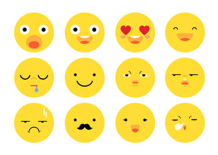 Vector flat icon of emoticon set - emoji collection.
