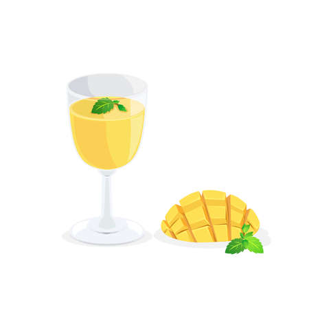 A glass of mango juice and fresh mango.