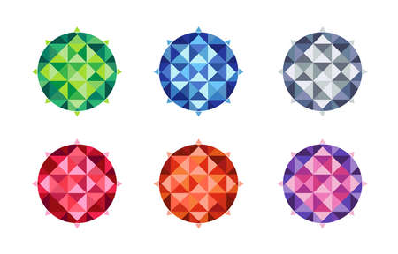 Graphic colorful triangle in circle shape for decoration. 矢量图像