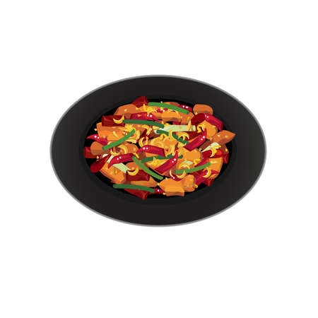 Chinese food - Vector of chicken stir fry with dry chilli and mala, spring onion.