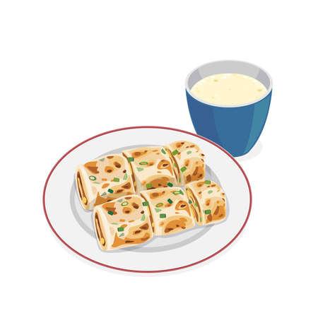 Dan bing- classical Taiwan breakfast Taiwanese egg crepe roll. Ilustração