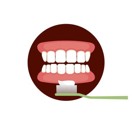 Gum and teeth with tooth brush Ilustração