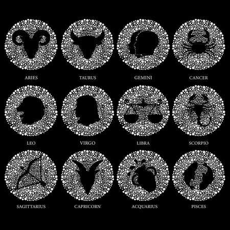 Zodiac sign - icon set on black background.