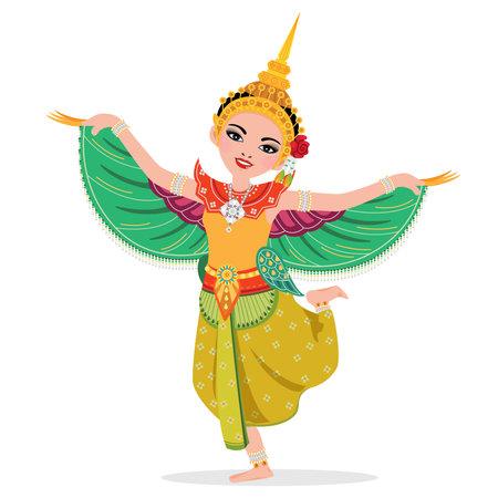 Young lady wear kinnaree costumes - thai traditional folk dance.