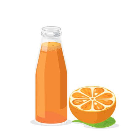 Fresh orange juice in a bottle for refreshment.