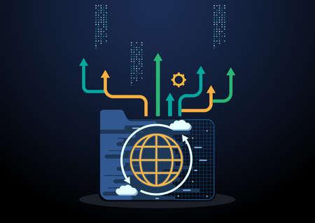 Technology background vector - Cloud data center,