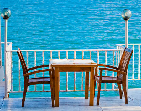 balchik: Table in a restaurant with sea view , Balchik, Bulgaria Stock Photo