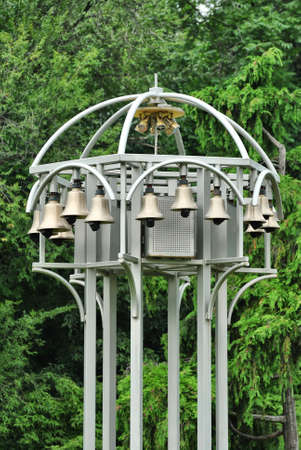 dozens: Metallic structure with dozens of automatic bells Stock Photo