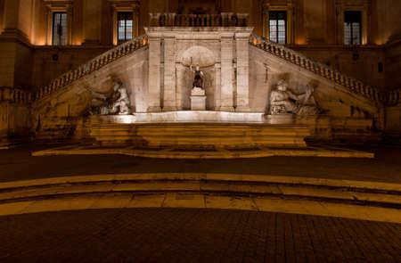 dea: The Fountain of Goddess Roma (Dea Roma) by night, Piazza del Campidoglio, Rome, Italy Stock Photo