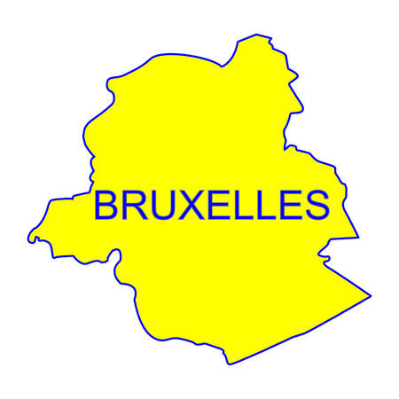 ville: Bruxelles city map vector with yellow color Illustration