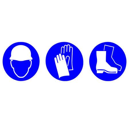 個人用保護具:ヘルメット、手袋、ブーツ記号
