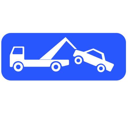 Pictogram met een analyse vrachtwagen die een auto opheft