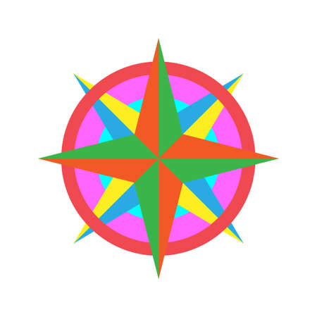 Colorful Wind Rose Vector Icon logo template 일러스트