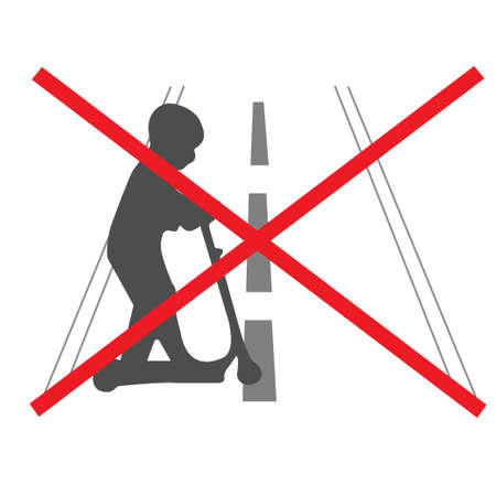 No push scooter allowed on the road Illustration