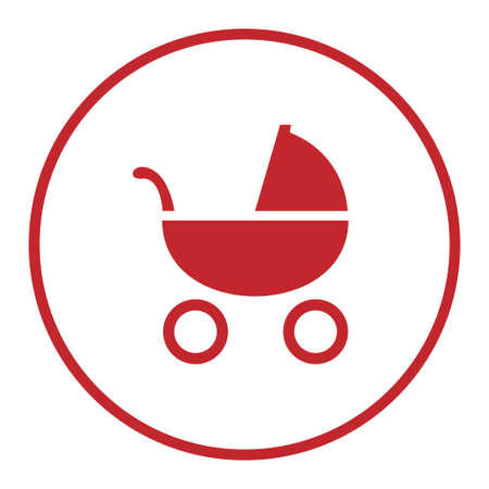 Red baby carriage stroller in a circle