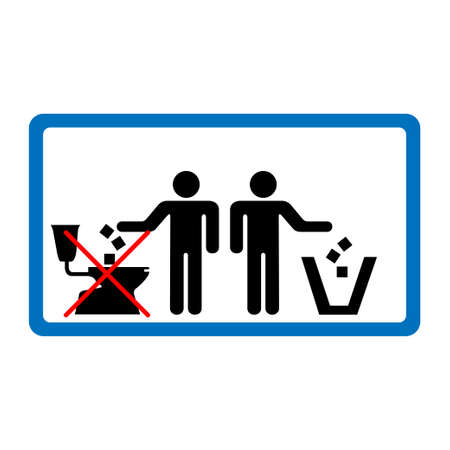 Do not throw litter in toilet sign in blue rectangle. Illustration
