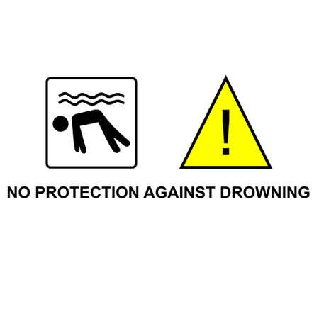 Kein Schutz gegen ertrinken Vektor mit Mann Silhouette und Warnschild Vektorgrafik