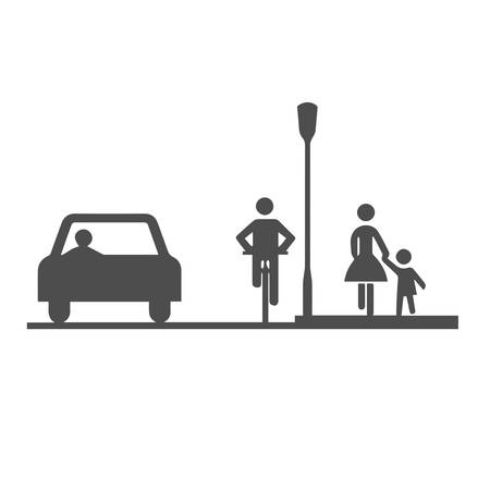Car, bicyclist and pedestrians:mother and child Stock Illustratie