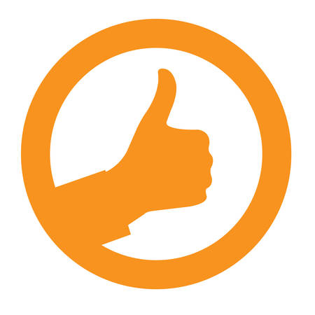 Ok sign with thumb up in circle Illustration