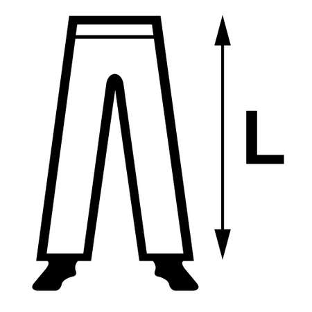 Trousers with arrow and the letter L symbol of lenght Illustration