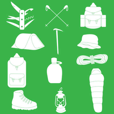Twelve objects necessary for hiking and mountain climbing Illustration