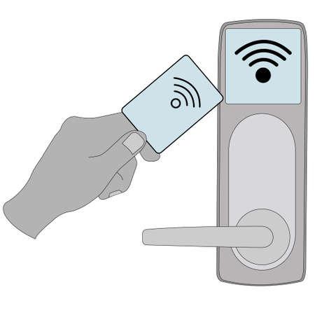 Key card in electronic modern system. Illustration