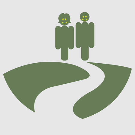 One couple on a stroll conceptual vector