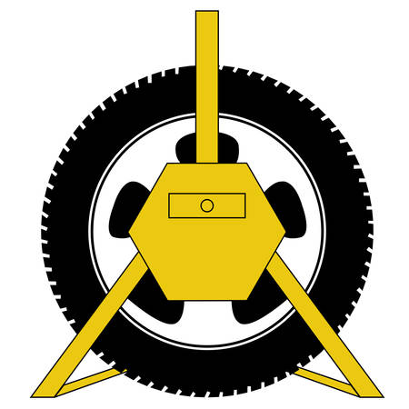 Yellow wheel clamp for car lock vector
