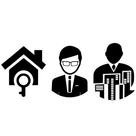Man, house, and block symbols representative for residential buildings Vectores