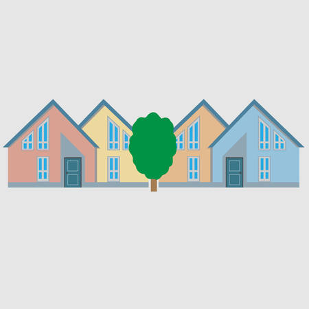 Colorful residential houses and tree conceptual vector