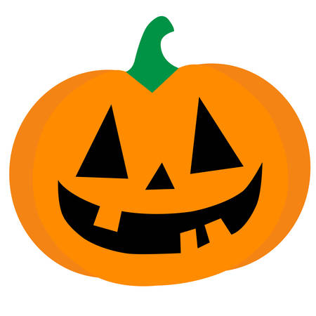 A smiling orange halloween pumpkin conceptual vector