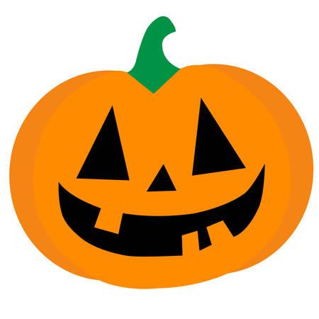 Ein lächelnder orange Halloween-Kürbisbegriffsvektor
