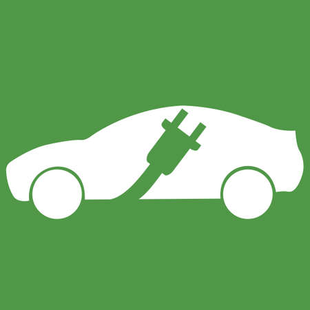 Electric car with charging cable conceptual design. Illustration