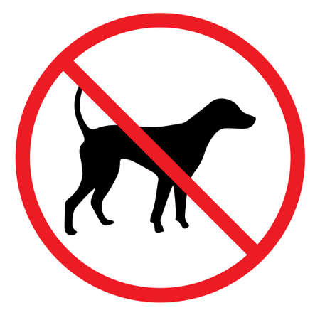 犬は赤い円でサインを許可されていません