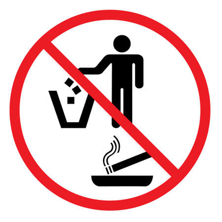 No discarding sign for litter and cigarettes