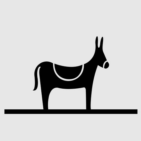 A black donkey silhouette conceptual vector art