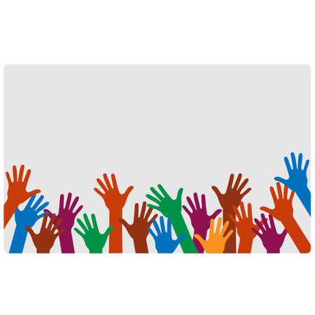 Hands up of different colors conceptual design. Çizim
