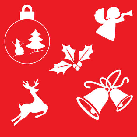 White Christmas decorations on red background vector