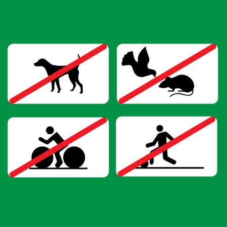 Several prohibitions signs in the park: no cycling, no dogs, no football, don't feed pigeons Illustration