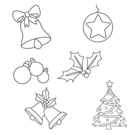 Christmas Ornaments Colouring Pages On White Background Royalty Free