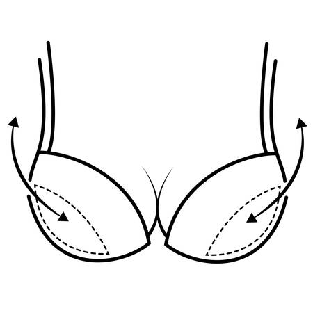 Bra with push up and arrows vector